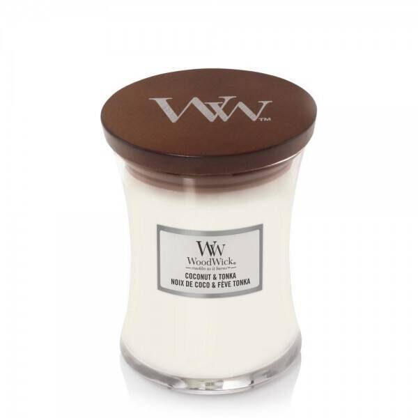 WoodWick Coconut and Tonka świeca średnia