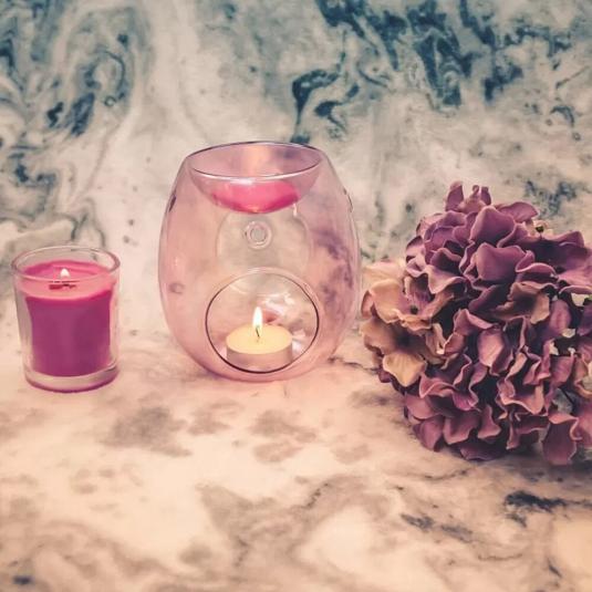 Kominek do wosków: Soft Pink Plated Glass